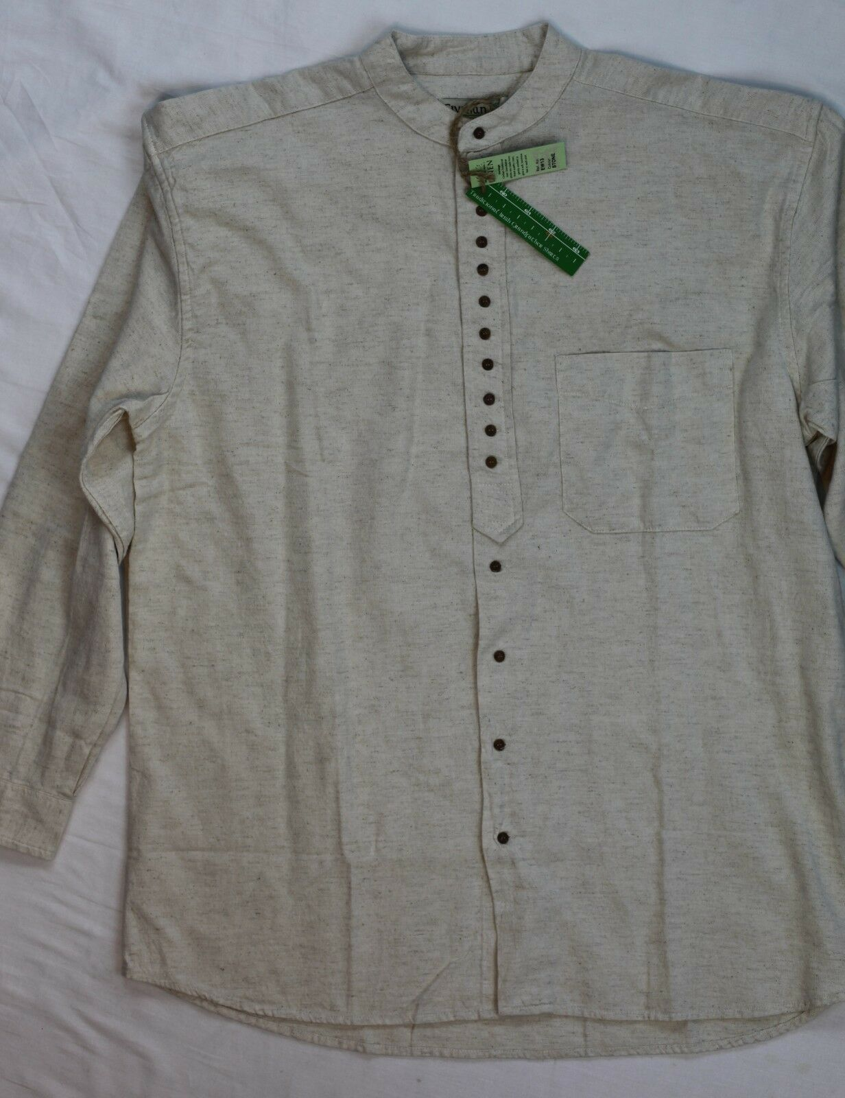 Civilian Irish Traditional Linen Grandfather Stone Shirt L NWT New with tags