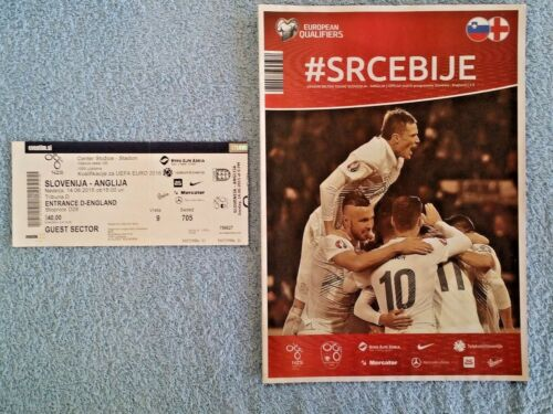 2015 SLOVENIA v ENGLAND PROGRAMME + MATCH TICKET EURO 2016 QUALIFIER