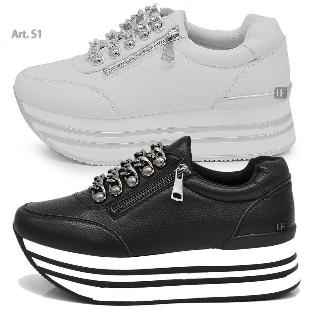 S1 shoes Da women Ginnastica Sportive Sneaker Zeppa Para Platform Catene