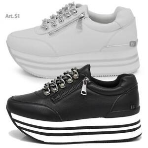 Caricamento dell immagine in corso S1-Scarpe-Da-Donna-Ginnastica-Sportive- Sneaker-Zeppa- cee74931861