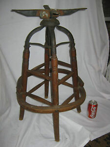 ANTIQUE PRIMITIVE INDUSTRIAL USA WOOD CAST IRON DRAFTING STAND STOOL TABLE CH