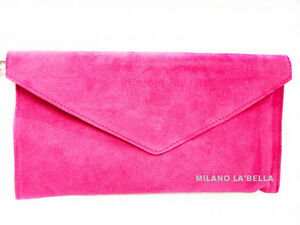 Hot-Pink-Large-Envelope-Clutch-Evening-Genuine-Real-Suede-Leather-Shoulder-Bag