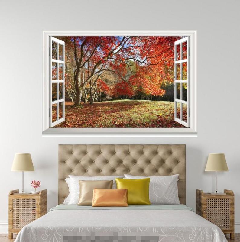 3D Maple Tree 4077 Open Windows WallPaper Murals Wall Print Decal Deco AJ Summer