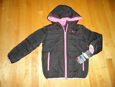 Nike Girls Hooded Winter Jacket Black Pink Lightweight Warmth Size 6 6X NWT