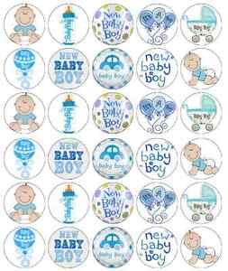 BABY SHOWER BOY 30 Edible Cupcake Toppers Wafer Paper Party Cake Decoration #4