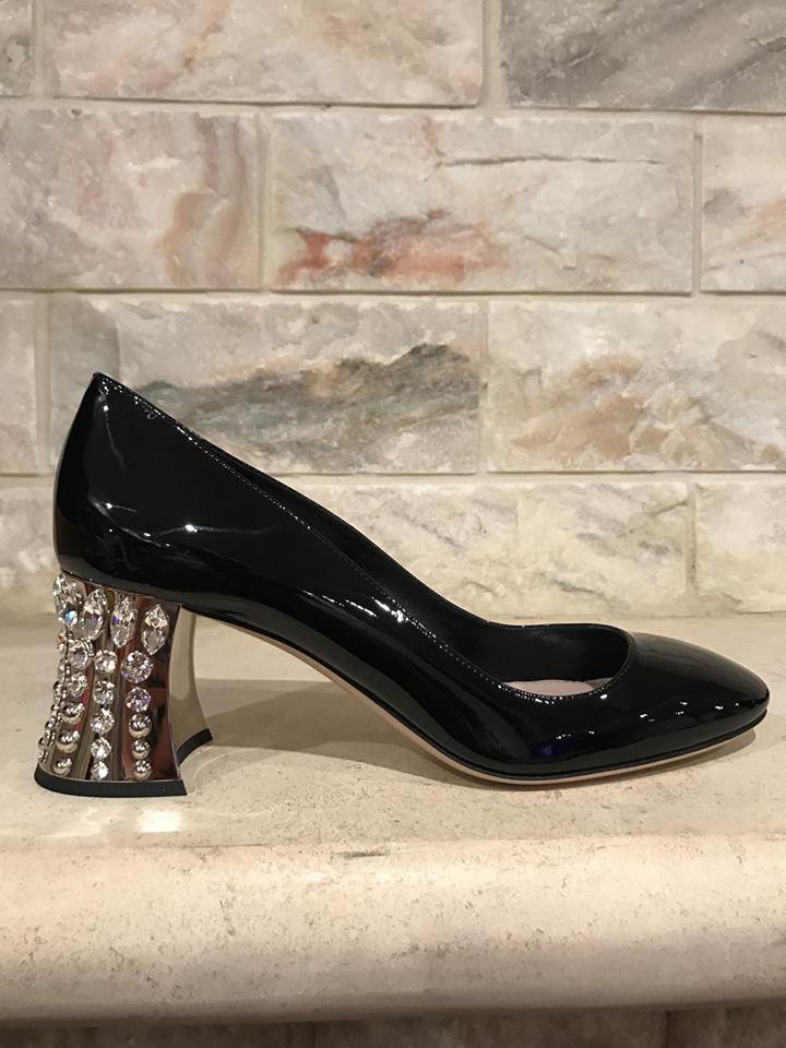 NIB Miu Miu Black Patent Leather Crystal Silver Block Chunky Heel Pump 38.5 $990