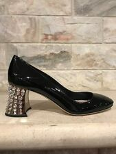 NIB Miu Miu Black Patent Leather Crystal Silver Block Chunky Heel Pump 36 $990