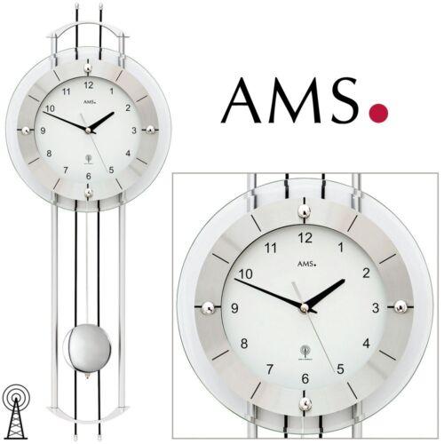 AMS 46 Pendeluhr Funk Mineralglas Funkuhr Wohnzimmeruhr Funkwanduhr 089