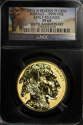 2013-W REVERSE PROOF $50 GOLD 1 OZ AMERICAN BUFFALO ** NGC PF 69  (LOT #2)