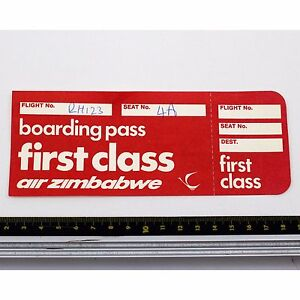 Air Zimbabwe - First Class - Boarding Passe - Années 1980 - Bon État Rgapzsan-08001741-718576712