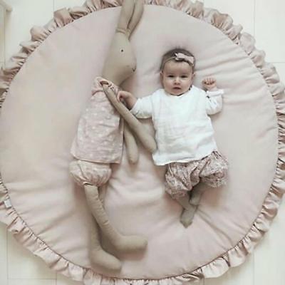 Tapis de Jeu Bébé Enfant en Coton Couverture pour Chambre Salon 100cm Rose