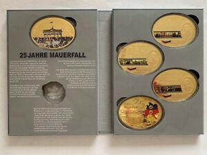 5 Médailles Géant, 25 Ans Chute Du Mur, Cu Plaqué Or Avec Application-afficher Le Titre D'origine Ferme En Structure