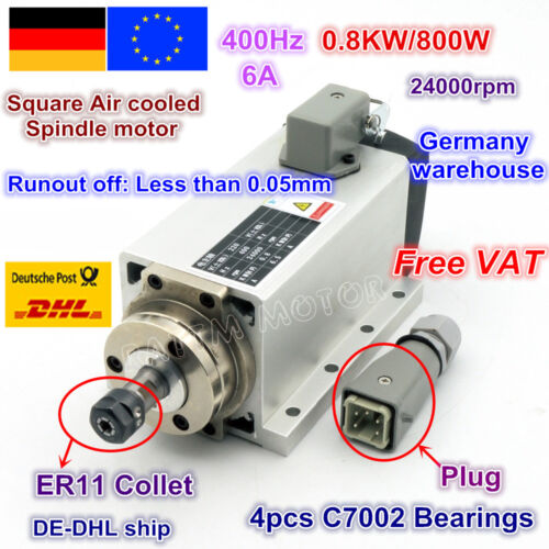 【DE】 Square 0.8KW Spindle Motor Air Cooled ER11 800W 2220V 24000rpm CNC Milling