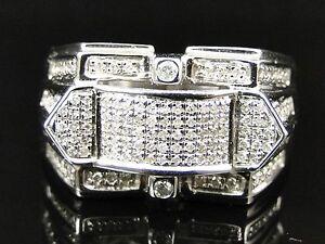 Mens White Gold Finish Black White Yellow Diamond Fashion Design Band Pinky Ring