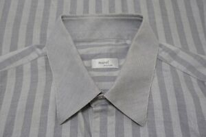 Marol Bologna Gray Herringbone Striped Cotton Dress shirt Sz 18