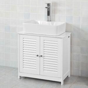 SoBuy® Mobile base per lavabo con 2 ante in stile tapparelle,bianco ...