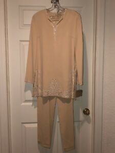 NWT-Naeem-Khan-Couture-2-Pc-Silk-Tunic-Pant-Suit-Embroidered-Beaded-Beige-Sz-6