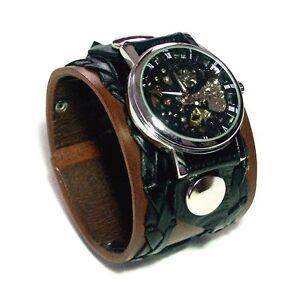 Medium-Brown-Leather-Watch-Wrist-band-Bracelet-Steampunk-GOTHIC-Mechanical