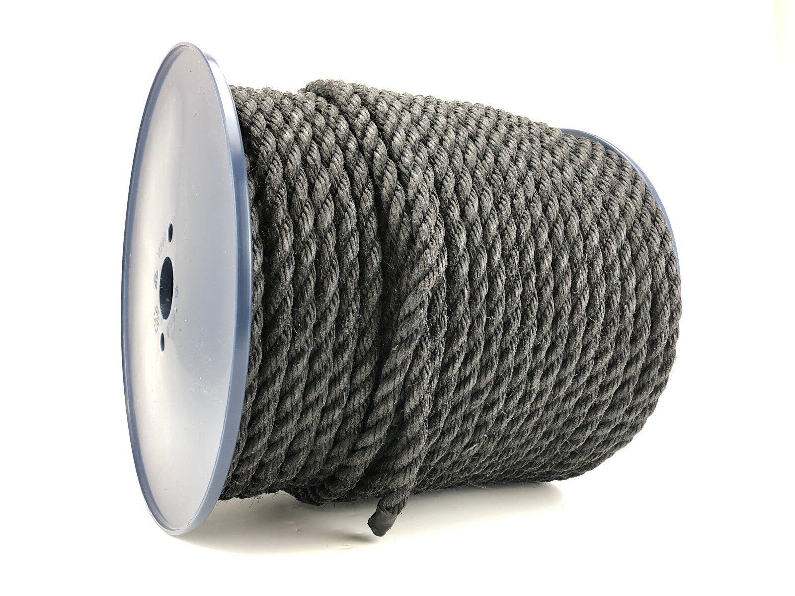 10mm schwarz Gesponnenes Seil x 220 Meter Rolle Anker Liegeplatz Baugerüst