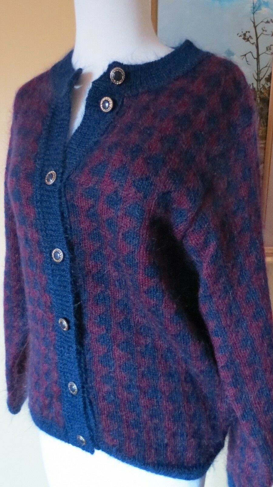 Vintage Women's Mohair blend Cardigan Sweater Scotland SMall 34-36 bust