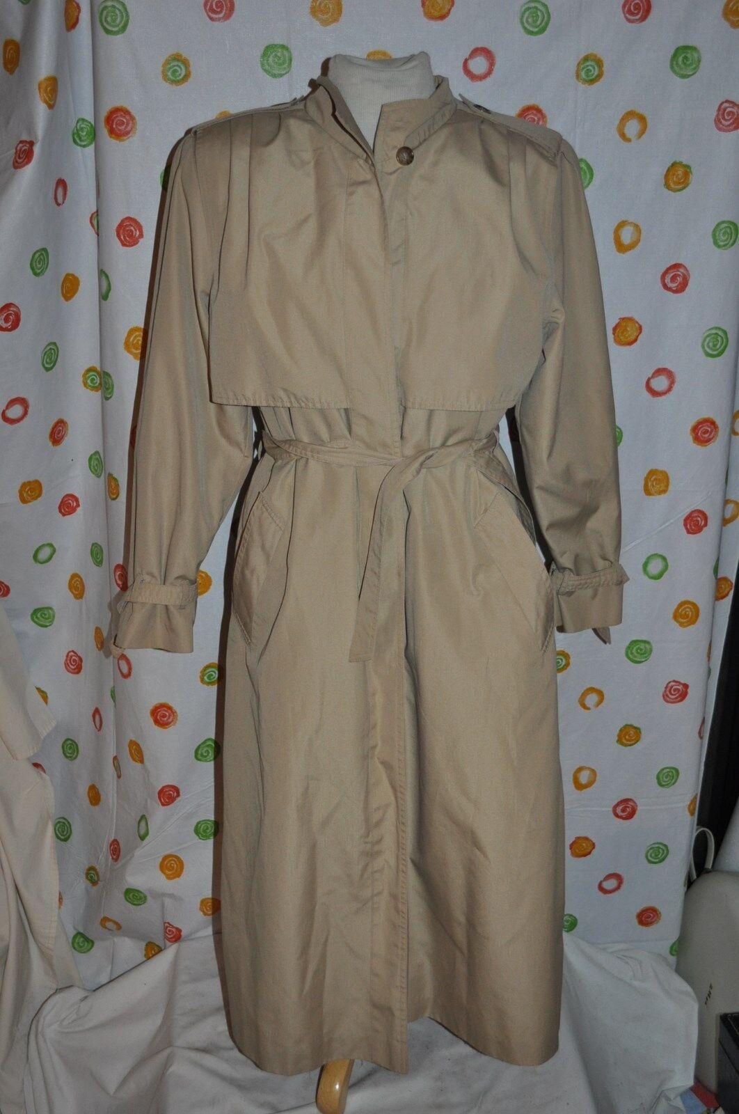FLEETSTREET  khaki TRENCH ALL WEATHER COAT WOMEN 14 Zip Zip Zip OUT LINER dae2e3