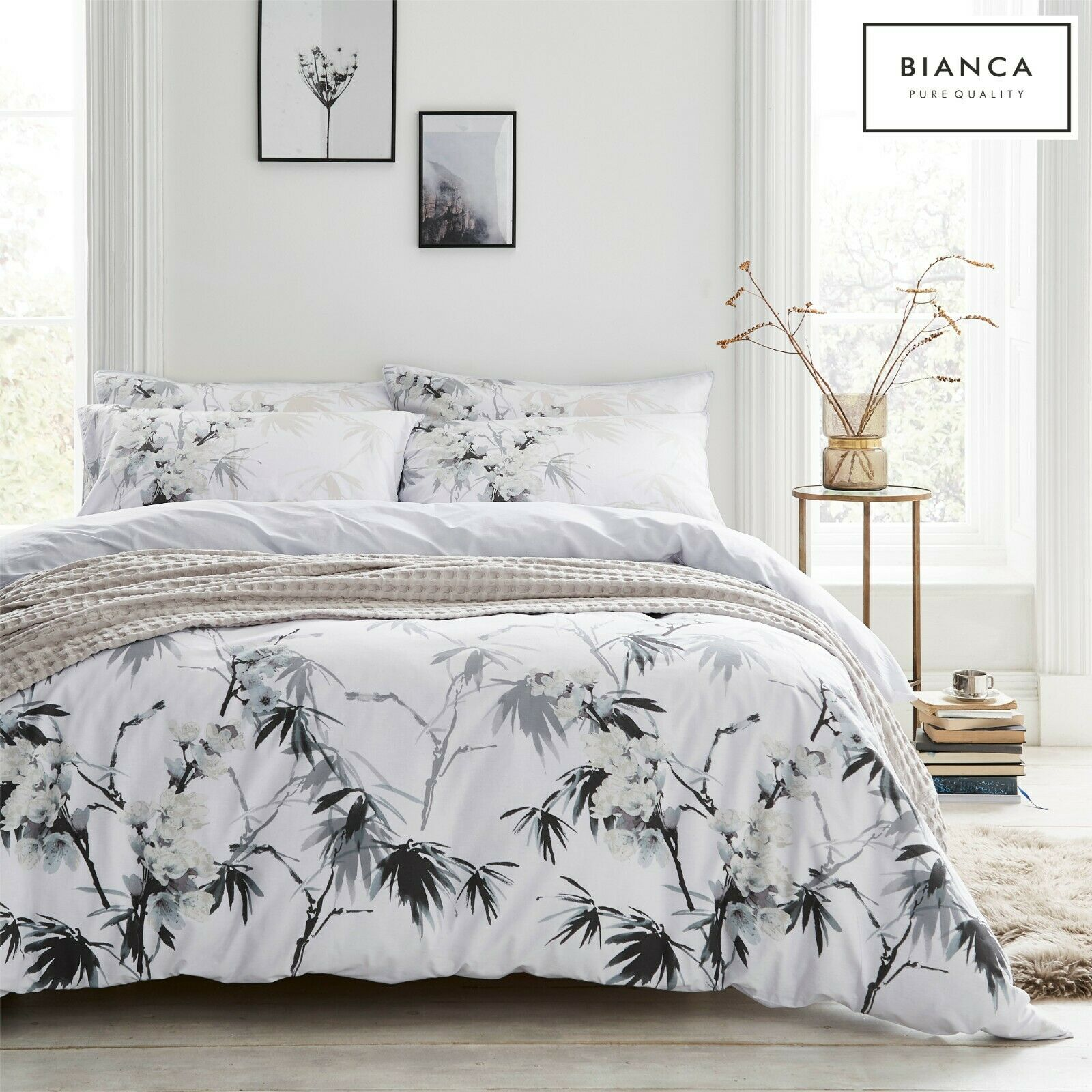 white KYOTO Light Floral 100% Cotton Soft Duvet Cover Quilt Cover Set Bedding