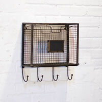 Vintage Style Metal Tilt Out Wall Pocket Organizer With Hooks