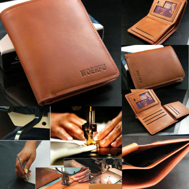 Classic Men's Leather Wallet Pockets ID Card Clutch Cente Bifold Billfold Purse