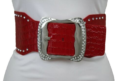 Women Belt High Waist Hip Silver Metal Buckle Red Faux Leather Elastic Band M L