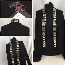 Line Sweater Large Wrap Black 100% Cashmere Beaded Cardigan NWT $341 YGI RE120