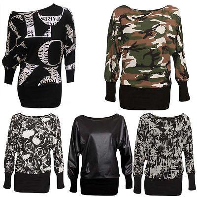 Ladies Womens Army Leopard Wetlook Printed Long Sleeve Batwing Top Plus UK 8-26