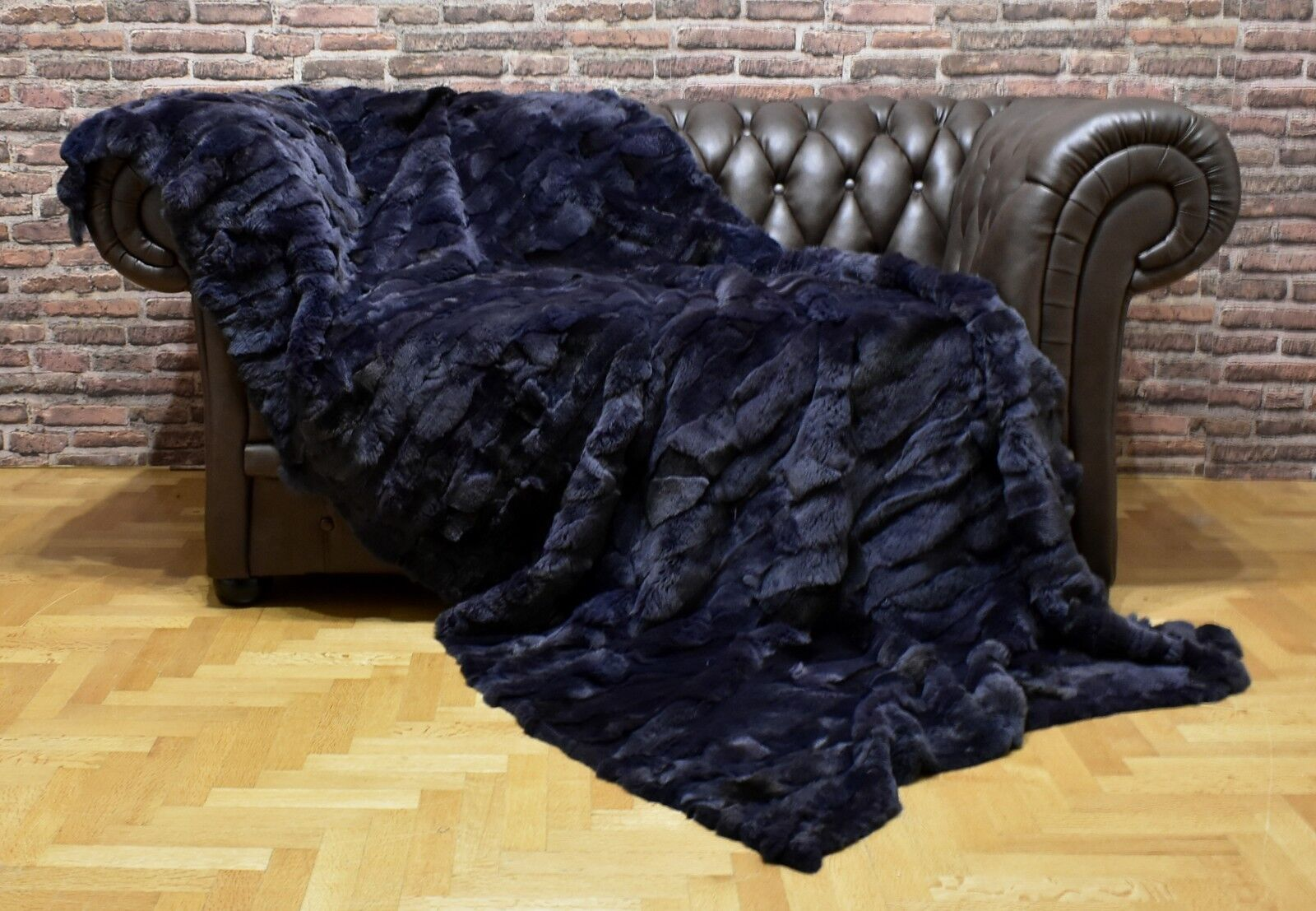 Luxury Real Hale Navy Rex Rabbit Throw Blanket