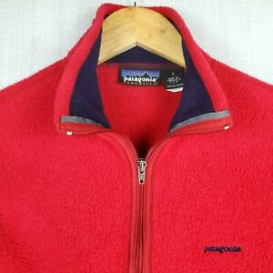 PATAGONIA-SYNCHILLA-Size-Small-Womens-Made-in-USA-Red-Full-Zip-Fleece-Vest-EUC