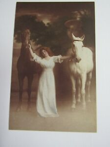 New Reproduction 1910 Photographic Woman With Horses Postcard P132