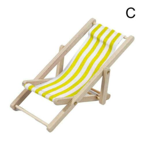 Dollhouse Miniature Garden Beach Furniture Folding Chair Blue Deck Stripe W0C2