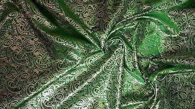 "1M emerald green COLOUR PAISLEY  BROCADE //JACQUARD FABRIC 58/"" WIDE cheapest"