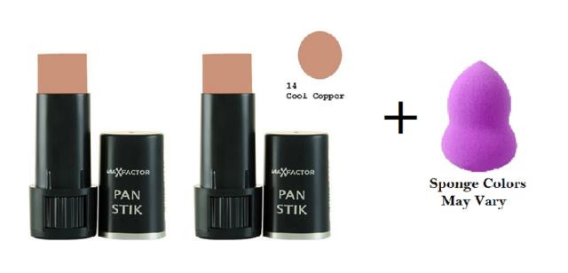 Max Factor Pan Stik Creamy Makeup 9 gr, Cool Copper #14 (2 Pack) + Makeup Sponge