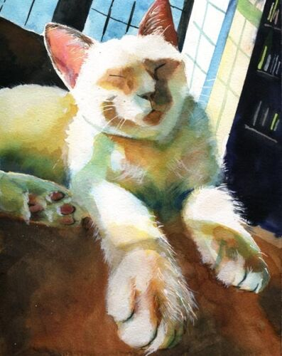 Giclee Siamese Cat Painting Art Watercolor flame lilac point pet portrait