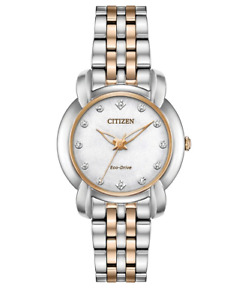 Citizen Eco-Drive Jolie Women's Diamond Accents Rose Gold 30mm Watch EM0716-58A