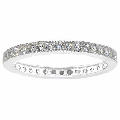 Women/'s Fine band 1.5mm 14K White Gold Round CZ Curved Tracer Wedding Ring