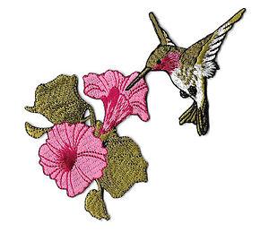 Bird Garden Spring Embroidered Iron On Applique Patch Hummingbird C MINI SMALL SET of 2 Bird Watching