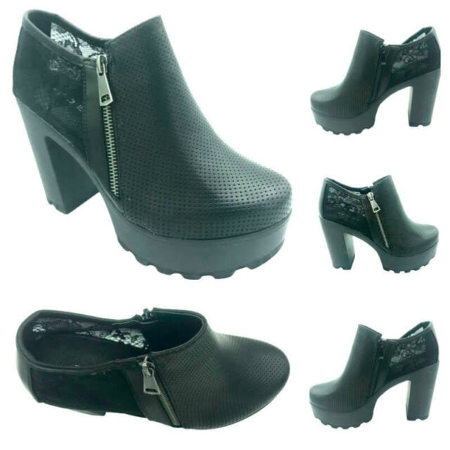 Ladies Chelsea Ankle Mid Block Heel Faux Leather Boots Shoes Size New Zip Up