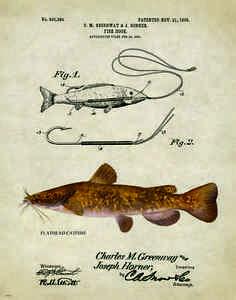 Fishing Lure Patent Poster Art Print Antique Flathead Catfish Reels