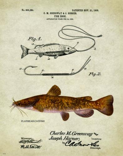 Fishing Lure Patent Poster Art Print Antique Flathead Catfish Reels Fish PAT218