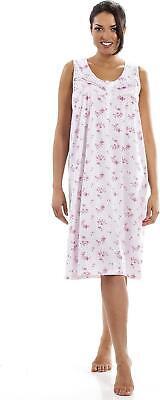 Camille Womens Nightwear Luxury Porcelain Floral Sleeveless Nightdress Luxuriant In Design