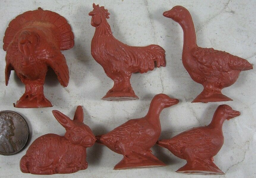 Lot Vintage 1960's Plastic & Rubber Farm Animal Set Rabbit Turkey