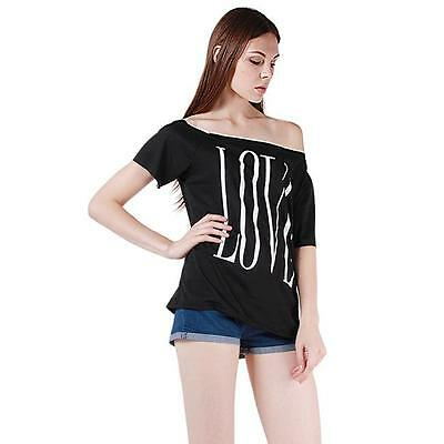 Fashion Women Summer Off Shoulder LOVE T-Shirt Casual Tops Tee Casual  Blouse