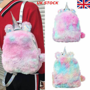 Womens Girls Sequins Fluffy Unicorn Backpack Plush School Rucksack Zipper Bag UK