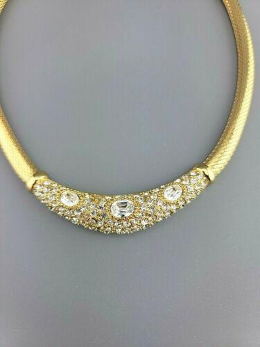Vtg CHRISTIAN DIOR Chr. Dior Signed Gold Rhineston