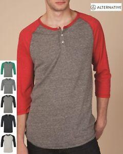 Alternative-1989-Unisex-Eco-Jersey-3-4-Sleeve-Raglan-Baseball-Henley-T-Shirt